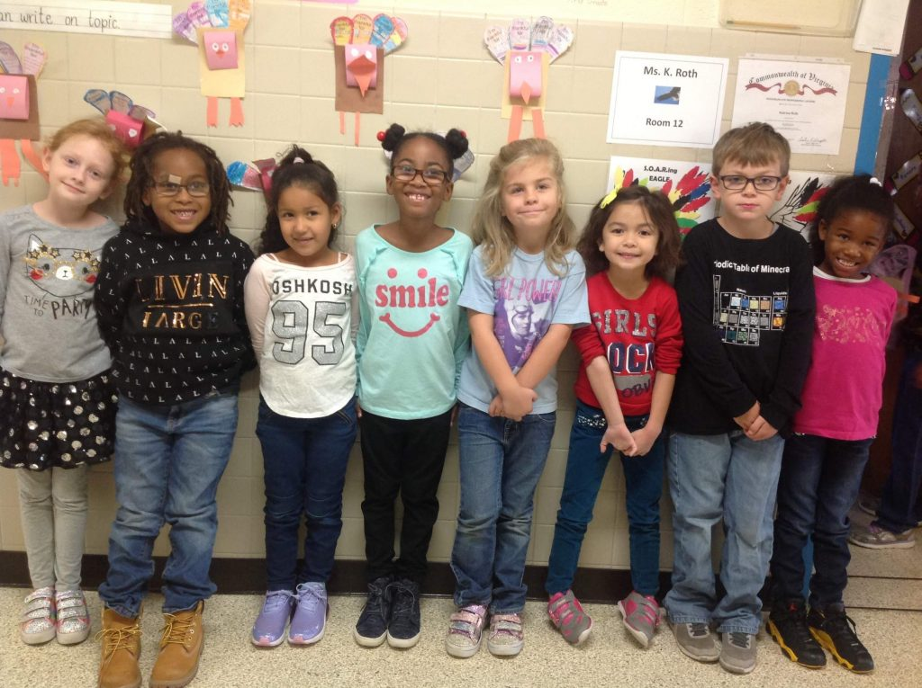 """Rosemont Elementary School first-graders celebrated """"Wear Your Words"""" Wednesday."""