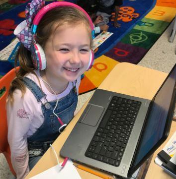 Salem Elementary School kindergartner Annabel Hill researched weather on PebbleGo.