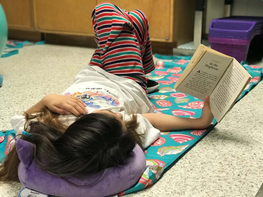 Salem Elementary School's Olivia McCarthy participated in the Drop Everything and Read with your PJ's event, in honor of Reading Month.