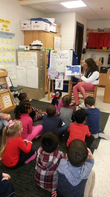Parents read to students during Reading Month at Salem Elementary School.