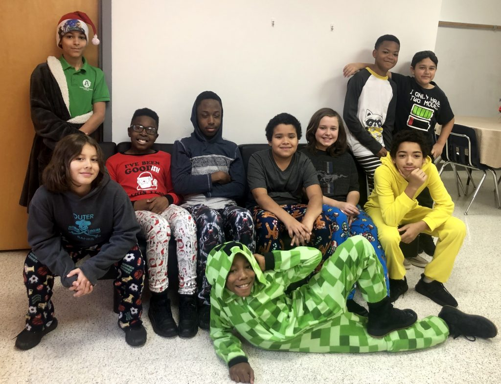 Seatack Elementary School's An Achievable Dream Academy members enjoyed their Garden Breakfast Club in pj's.