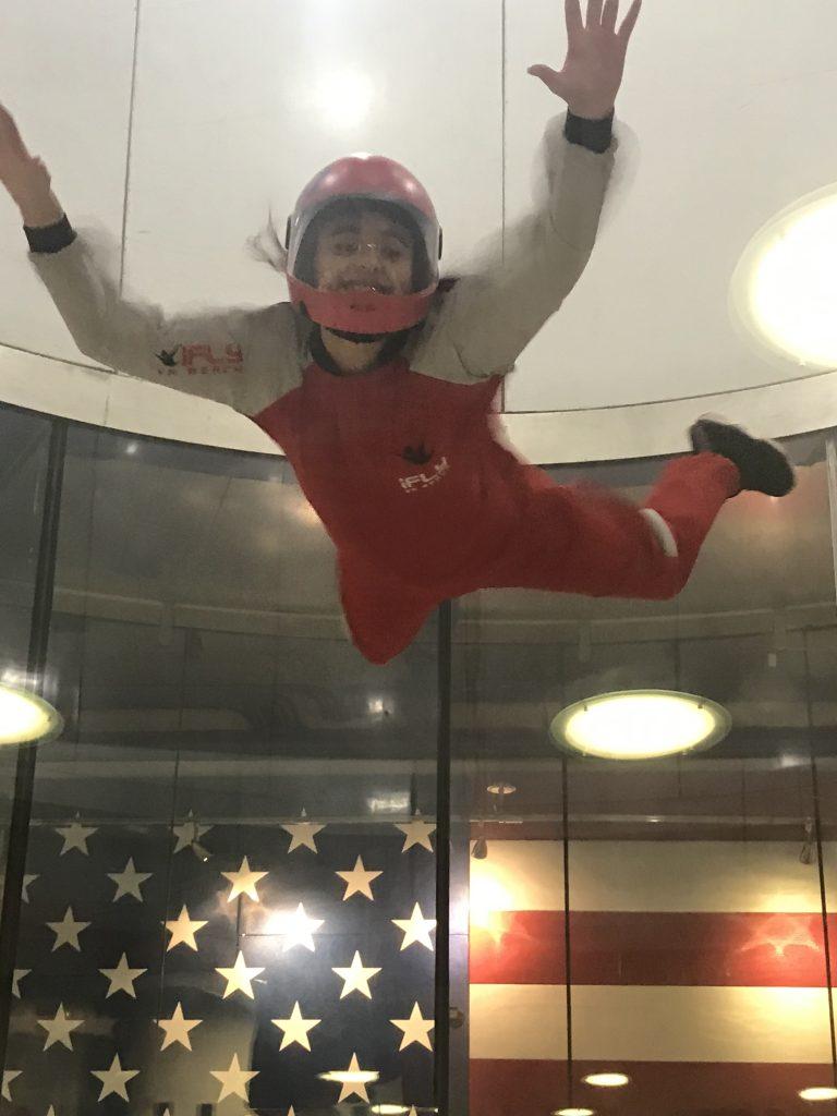 Seatack Elementary School fifth-grader Lynzy Hernandez demonstrated her indoor skydiving skills at IFly at an afterschool program.