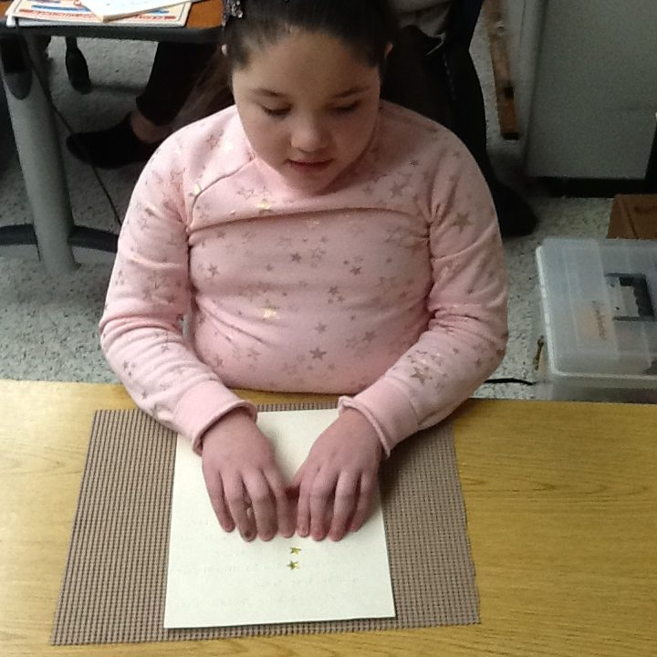 Parkway Elementary School is celebrating National Braille Literacy Awareness Month. Third-grader Jaycelee Otero edited her word study sentences in Braille.