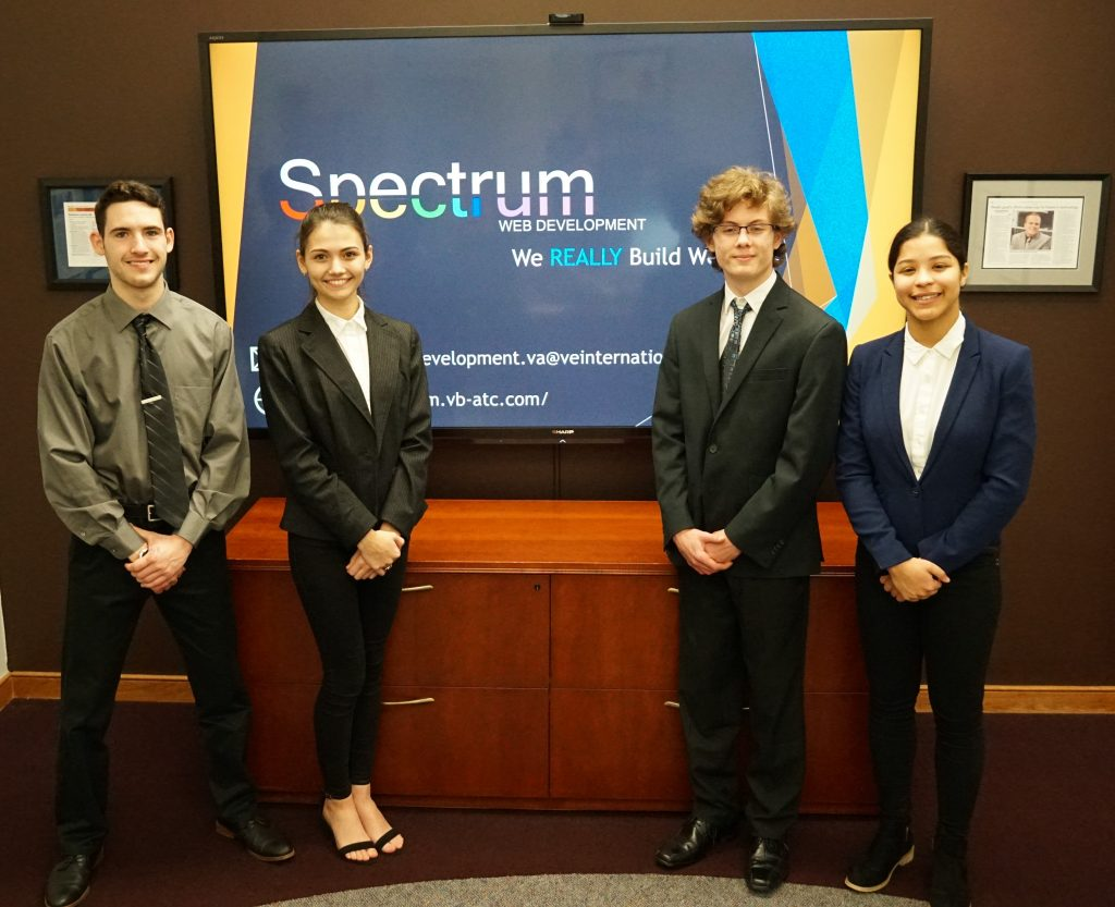 ATC Advanced Web Design students Nathaniel Pillatsch, Olivia Gee, Grant Gordon and Yarni Matos placed second in the 2019 Business Plan Defense competition for Virtual Enterprises.