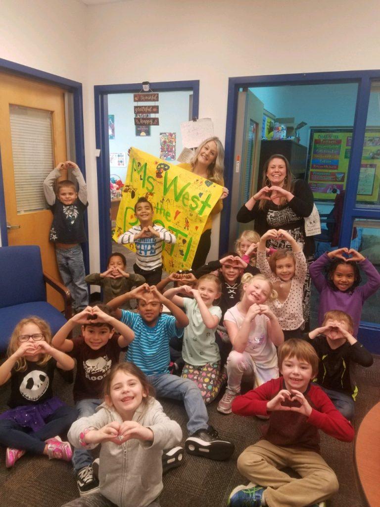 Arrowhead Elementary School first-graders honor Brittney West during School Counseling Week.