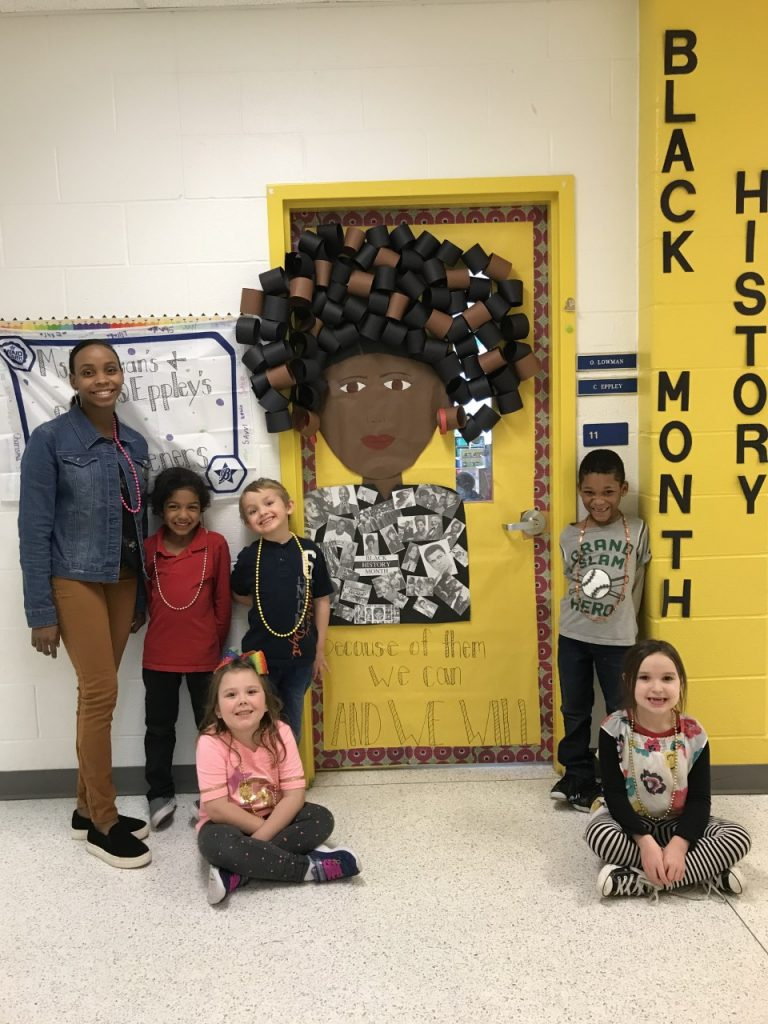 Arrowhead Elementary Teacher Olivia Lowman decorated her door to honor many of the famous African Americans trailblazers through history.
