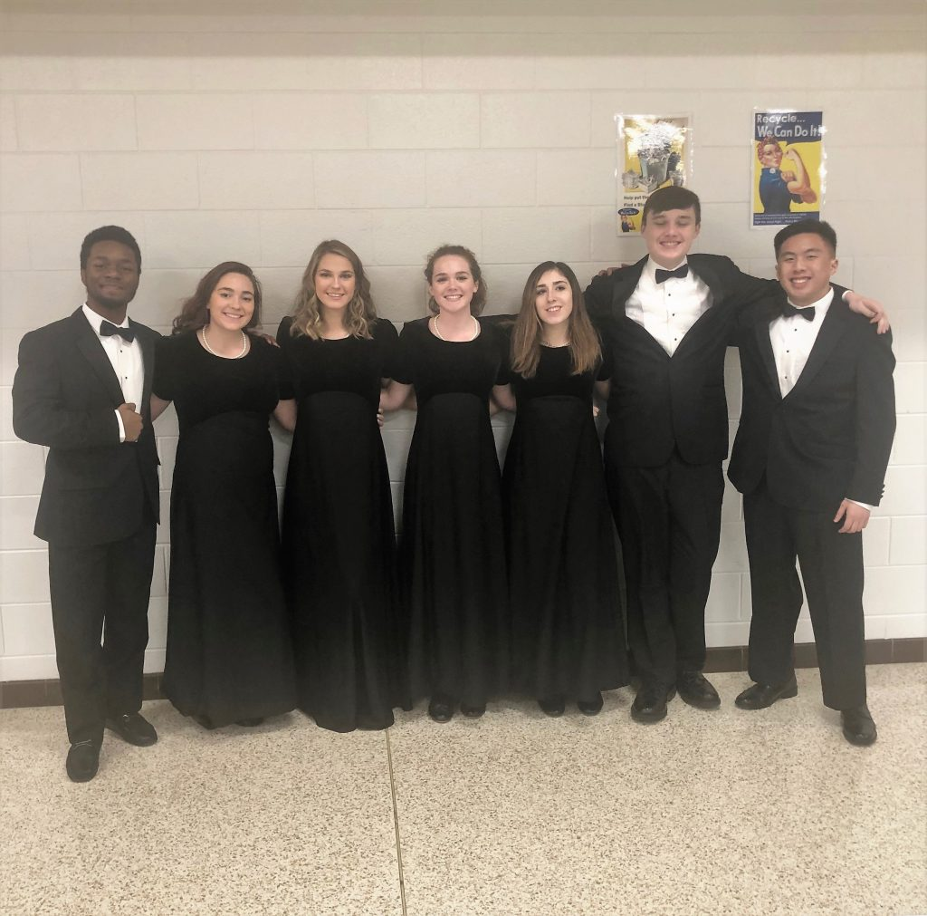 Corey Collier, Charli Labud, Alyssa Kein, Lahna Scholz, Krista Kubovchik, Curtis Patton and Rex Soriano represented Bayside High School at the District II Honor Band event at Cox High School.