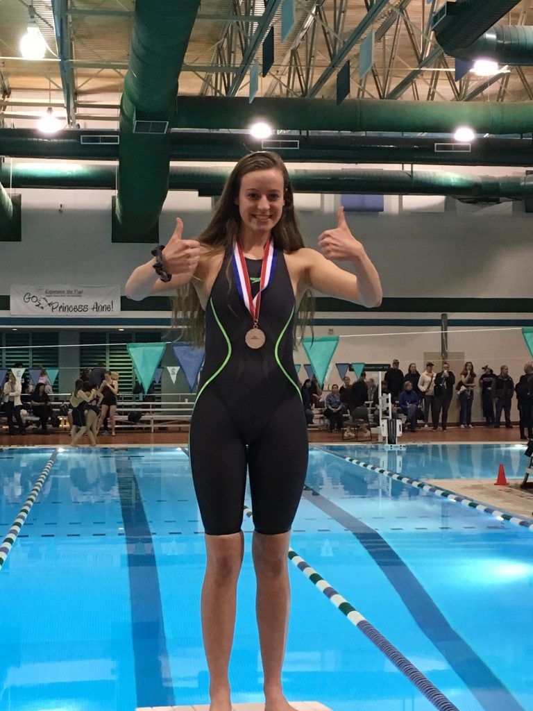 Bayside High School's Blythe Brenner earned a silver medal in the 100 meter freestyle and a bronze in the 50 meter freestyle during State Swim Meet. The girls team placed eighth overall in the region.