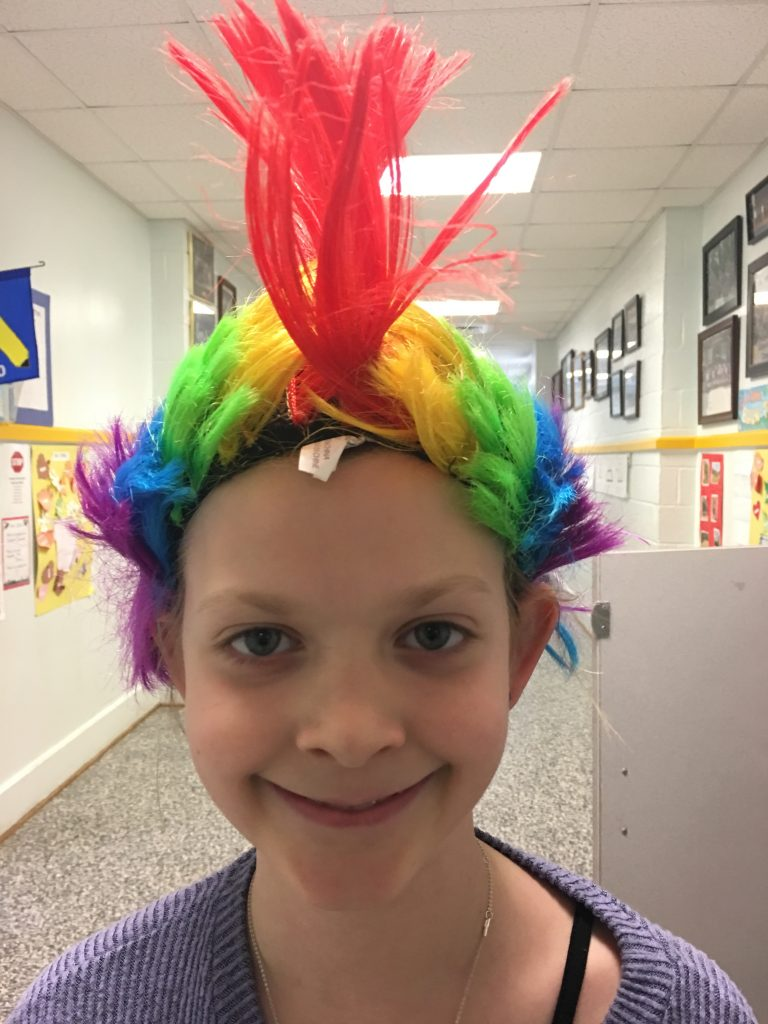 Creeds Elementary School fourth-grader Bailey Thompson celebrated Read Across America Week by participating in Crazy Hair Day.