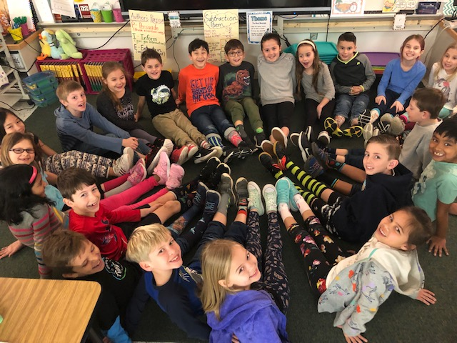Three Oaks Elementary School second-graders enjoyed Crazy Sock Day in honor of Read Across America Week.