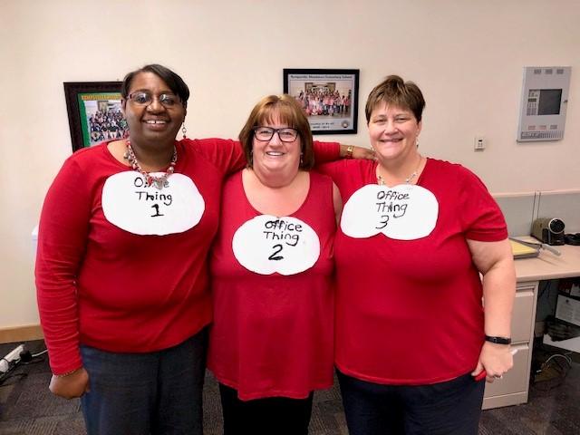 Kempsville Meadows Elementary School Office Associates Charlene Fenner, Judi Haddox and Lisa Trim got in on the Dr. Seuss fun.