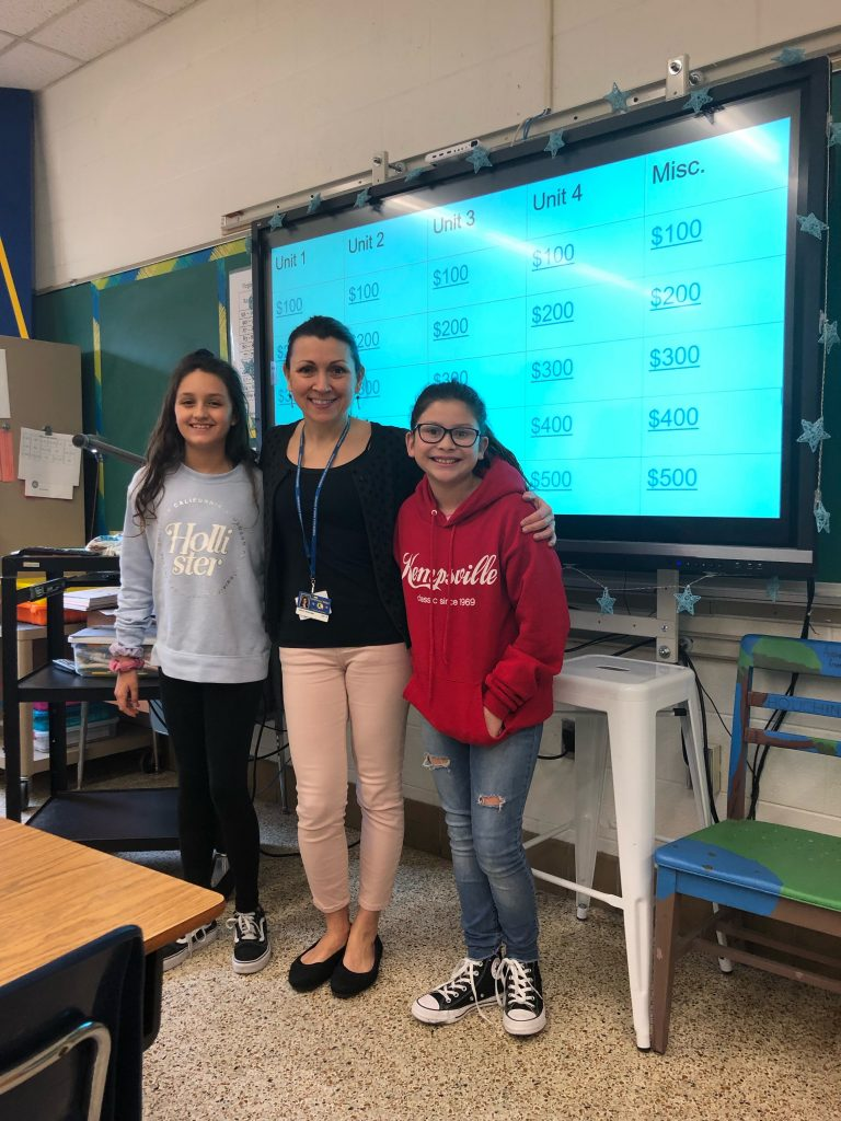 Best friends Josie Scott and Olivia Vick at Kempsville MIddle School invented a Jeopardy-style game for the sixth-grade Pre-Algebra class.