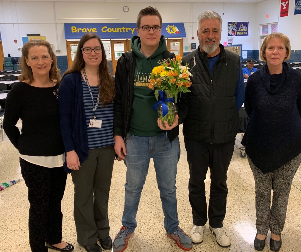 Alex McKay was awarded the Teacher Assistant of the Year at Kempsville Middle School.