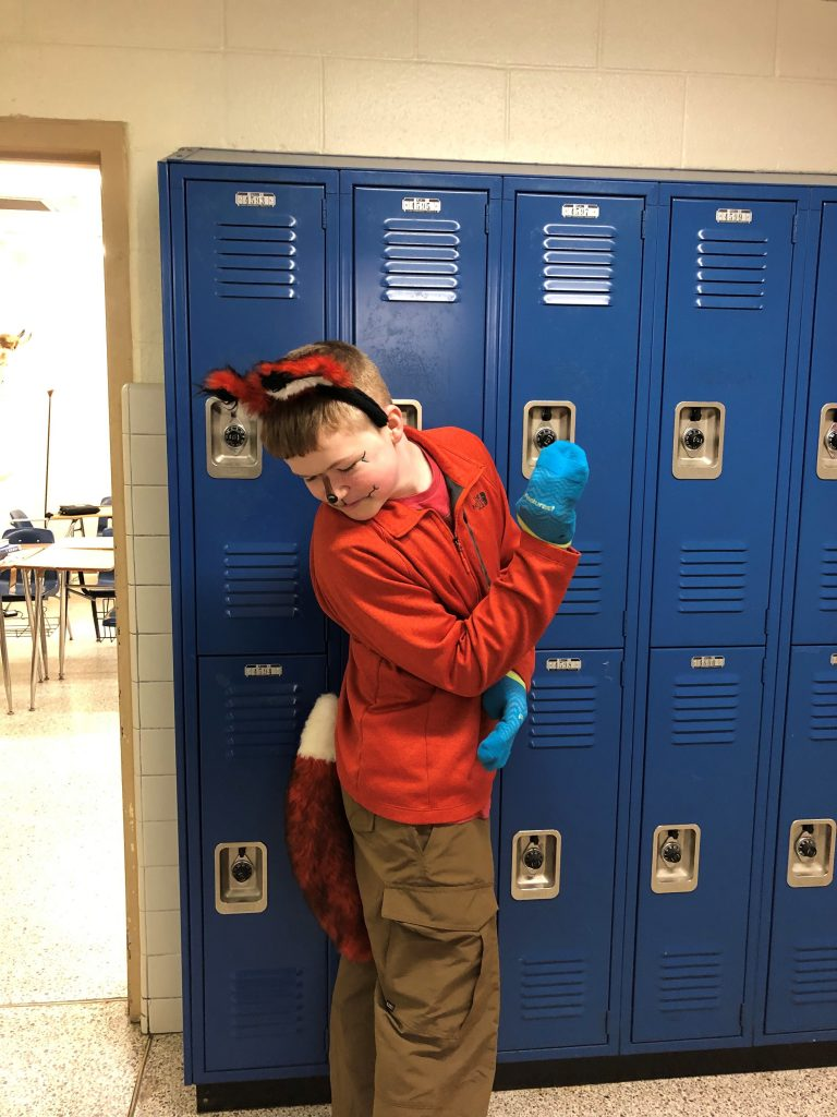 "Ethan Grimes, sixth- grader at Lynnhaven Middle School, dressed up as the fox from Dr. Seuss' ""Fox in Socks"" book for ""Dress like your favorite Dr. Seuss character."""