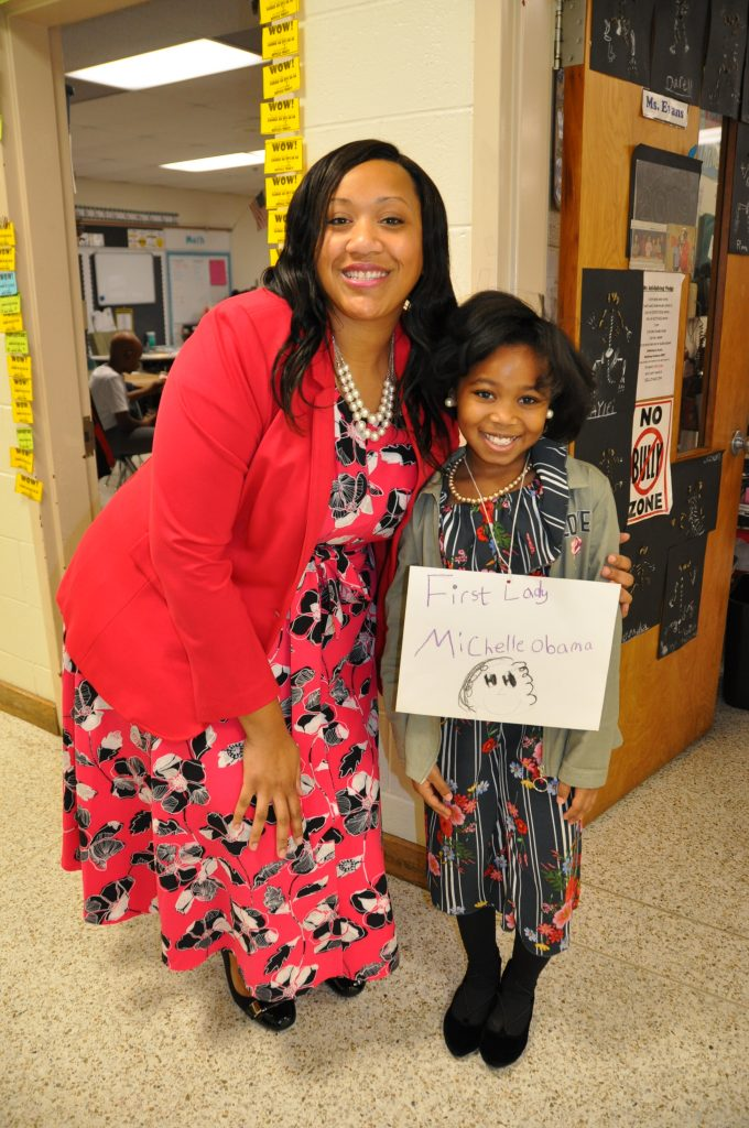 Melissa Smith and Jasmine Foreman celebrated Black History Month at Parkway Elementary School.