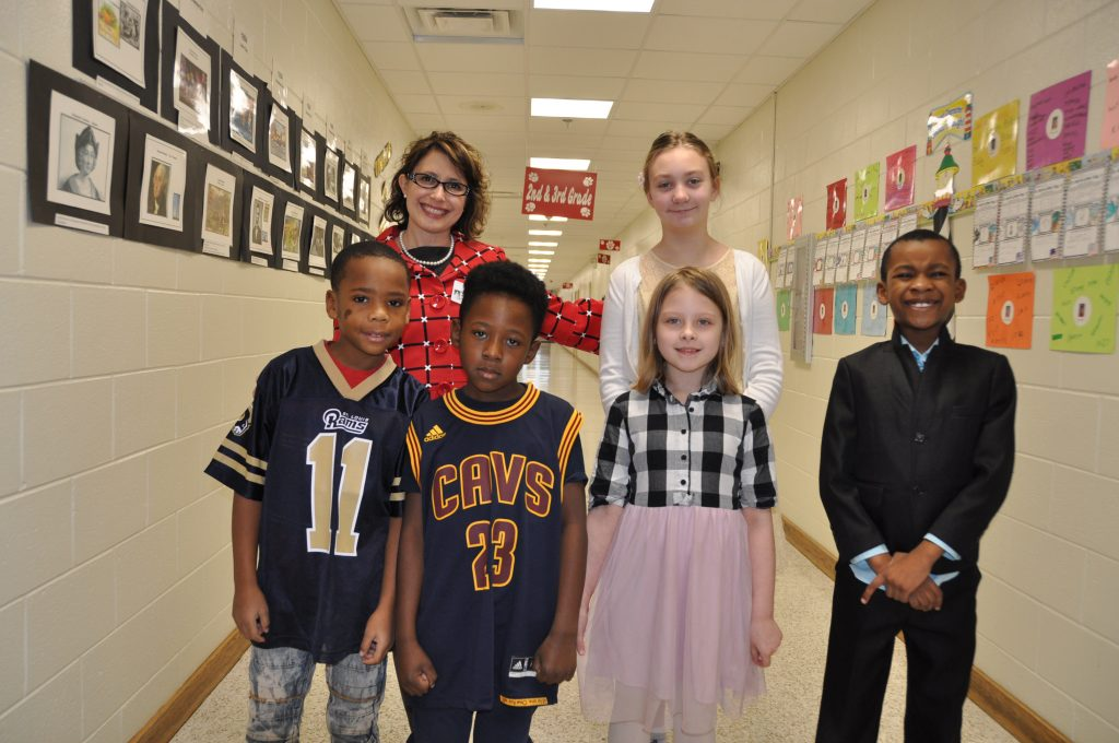Parkway Elementary School students : Manuel Harper, Delontae Shaw, Maci Zeller, and Gerard Pinidi, Lisa Marler and Hannah Miller dressed up in honor of Black History Month.