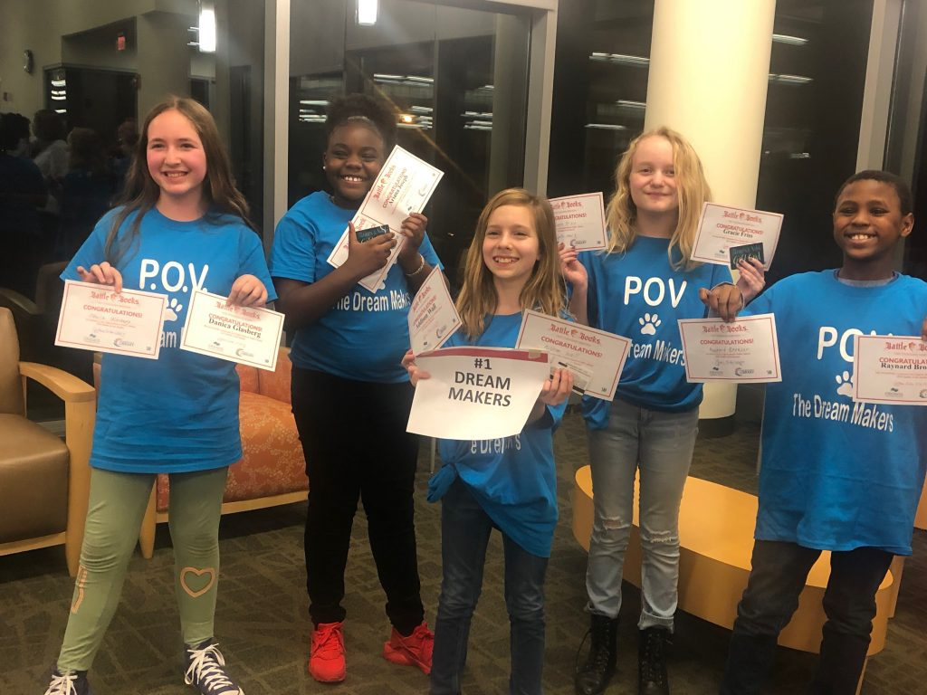 Point O'View Elementary School's Battle of the Books team, The Dream Makers, won their premilinary battle to advance to the semi-finals. The team is made up of fifth-graders Danica Glasberg, Ariana Joseph, Addison Wall, Gracie Friss and Raynard Bronson.