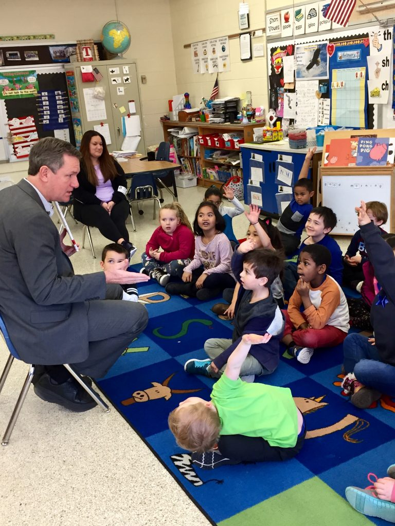 Rosemont Elementary School kindergarteners were treated to a special guest reader. Chief of Staff Dr. Bergin.