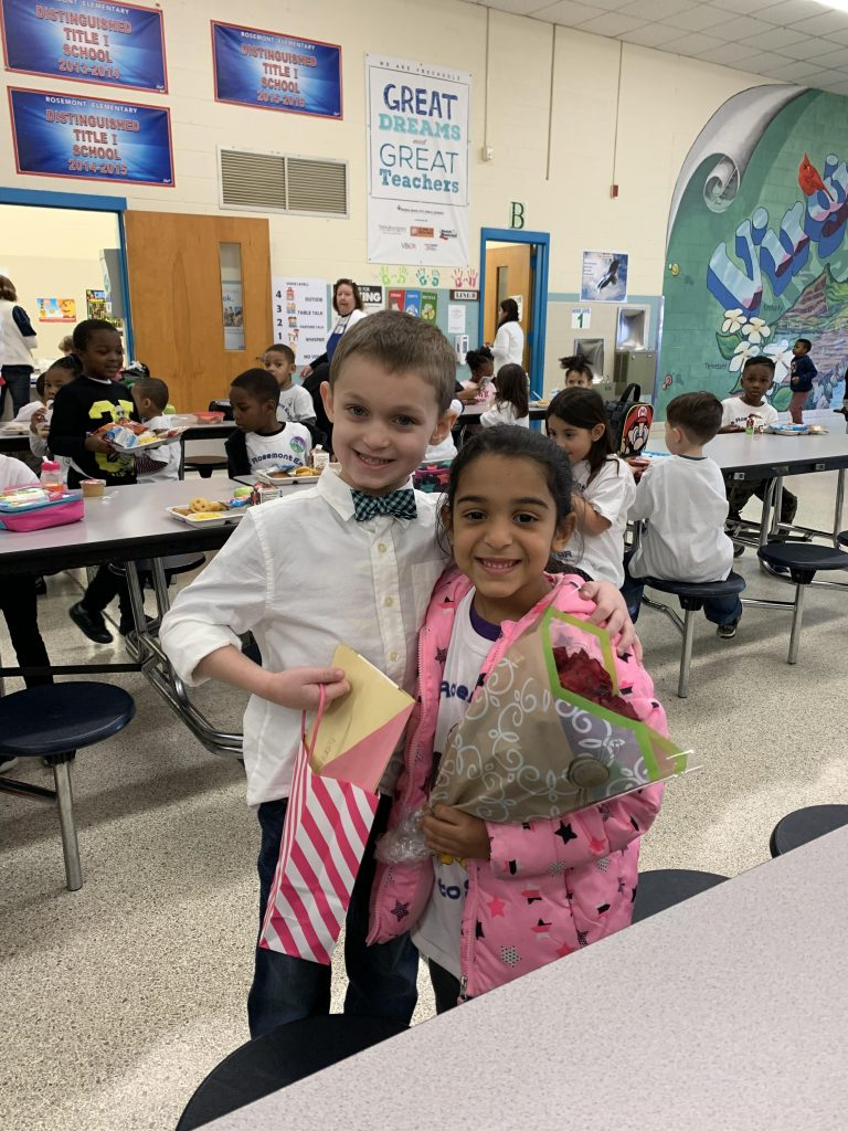 Rosemont Elementary School kindergartner Danny Wager gave his former pre-K classmate Kalisia Newkirk a gift in honor of Kindness Week.