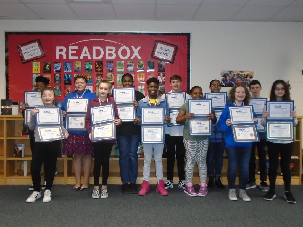 """Salem Middle School celebrated their """"Shark of the Quarter"""" students, who were selected based on their demonstrating the characteristics of fairness and honesty."""