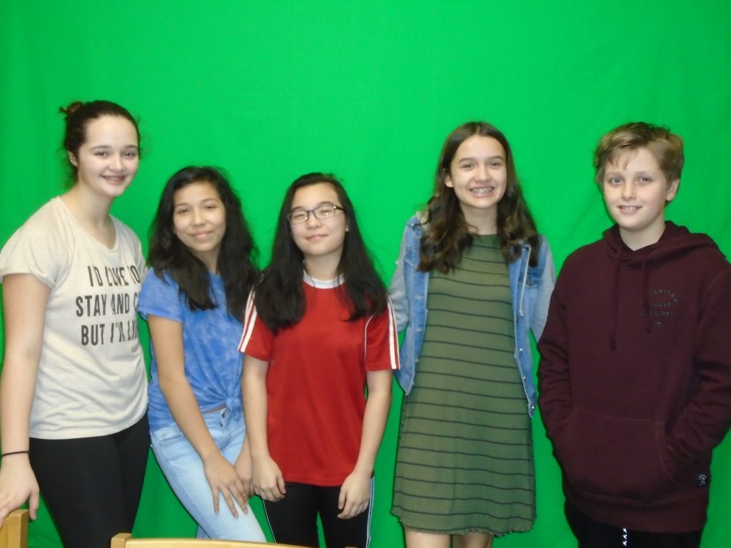 Lucy Elmquist, William Bacon, Alexis Morgan, Ximena Hurtado and Alayna Fuchs, seventh-graders from Salem Middle School, created public service announcements about the Five Pillars of AVID.