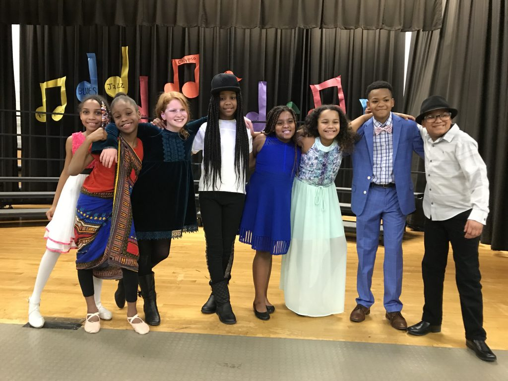 Alani King, Kasaundra Selby, Caleigh Sgambelluri, Jennovecio Hines, Riley Green, Jasmyn Miller, Aarien Brewer, and Jermane Weathers showcased their musical talent at the Seatack Elementary School Black History Month program.