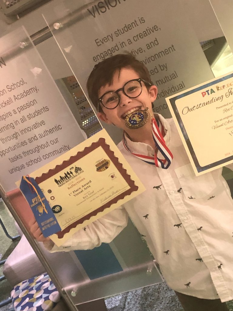 "Rex Graf, a Deaf fourth-grader at Glenwood Elementary School, took first place in the VBCPS district-wide Reflections contest. Rex wrote an essay about and painted a portrait of ""his every day hero,"" Kristi Greenstein, one of the division's teachers of the deaf."