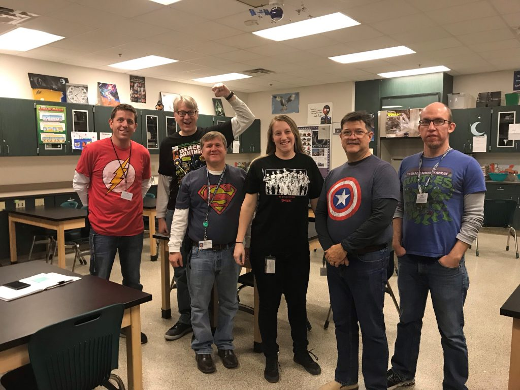 "Virginia Beach Middle School staff showed support for Digital Learning day by wearing super hero shirts to show they were ""Super"" digital citizens and helped promote being leaders of digital citizenship."