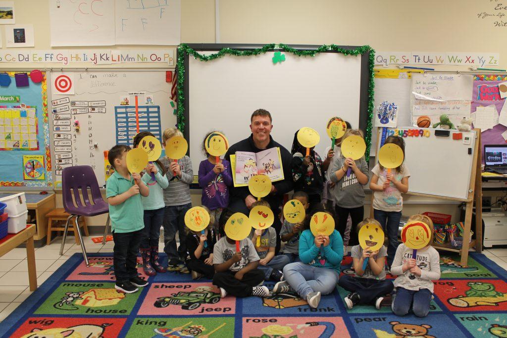 Firefighter Scott Beauchaine visited Mrs. Kelly Geller's pre-k class at Windsor Woods Elementary School.
