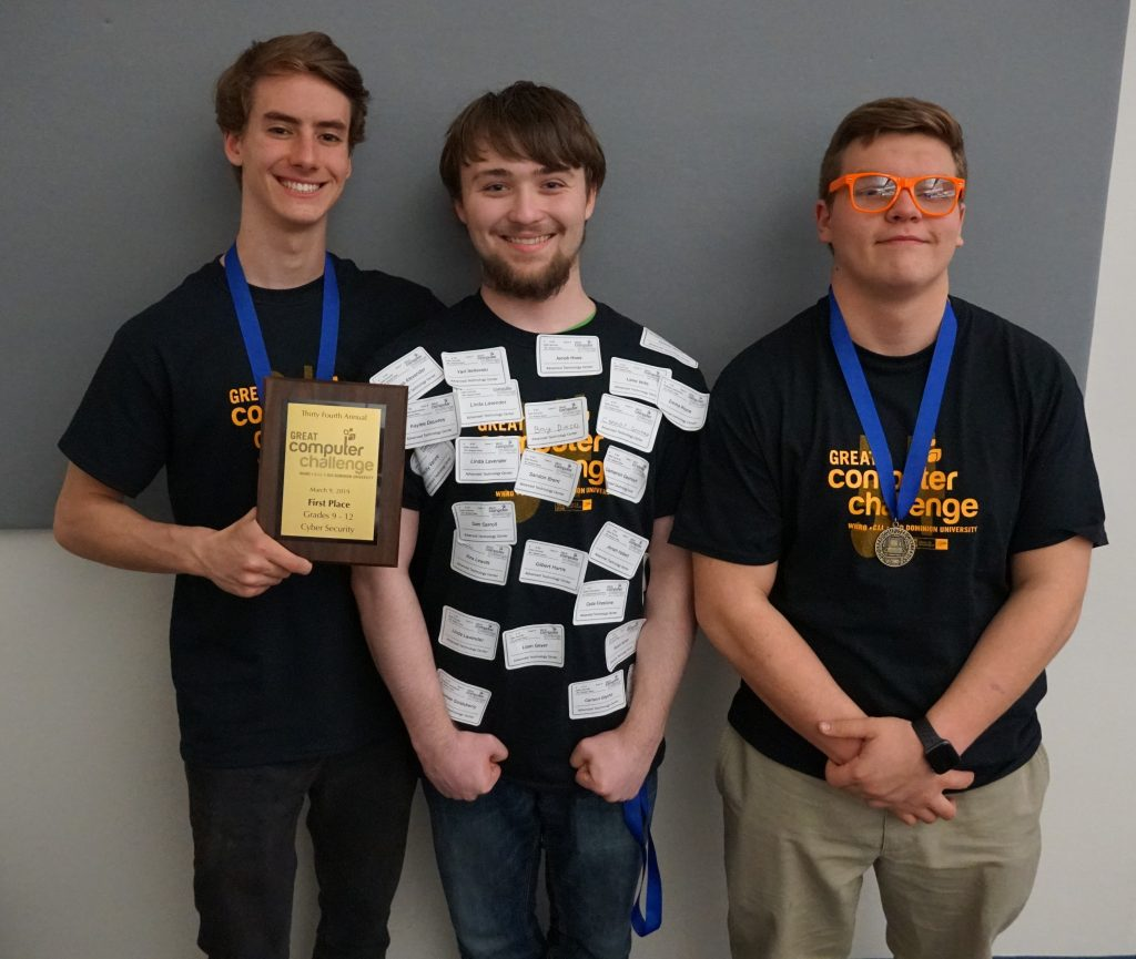 ATC's Lucas Alexander, Connor Grunewald and Yaroslav Selivski placed first in Cybersecurity at the Great Computer Challenge.