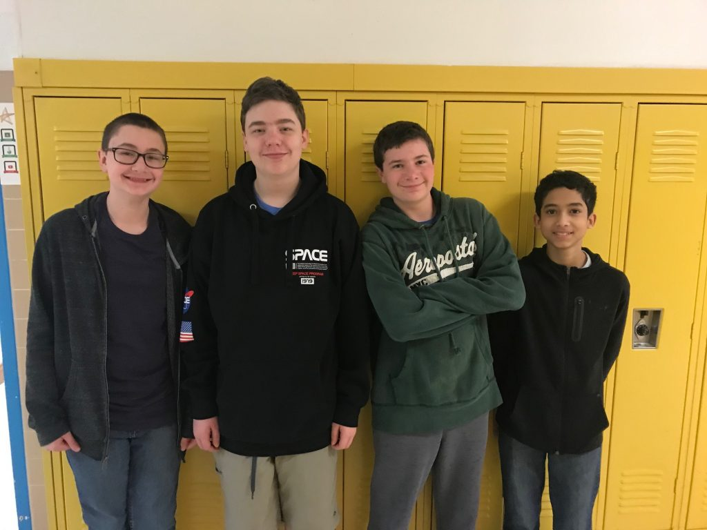 Brandon Middle School's Lucas Gordon, Lukas Price, Auden Donovan, and Daniel Colon took second place at the Physics Olympics.