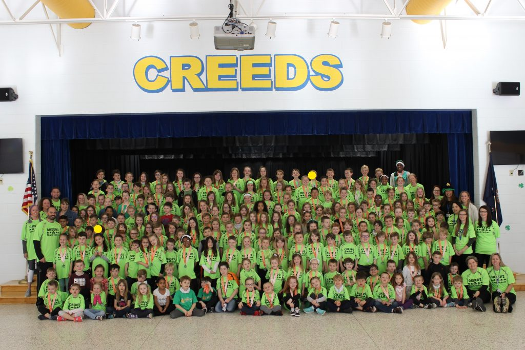 Seventy percent of Creeds Elementary School participated in the Shamrock Final Mile. It's the fifth year in a row that the school has earned the award for most participation from a school in Virginia Beach.