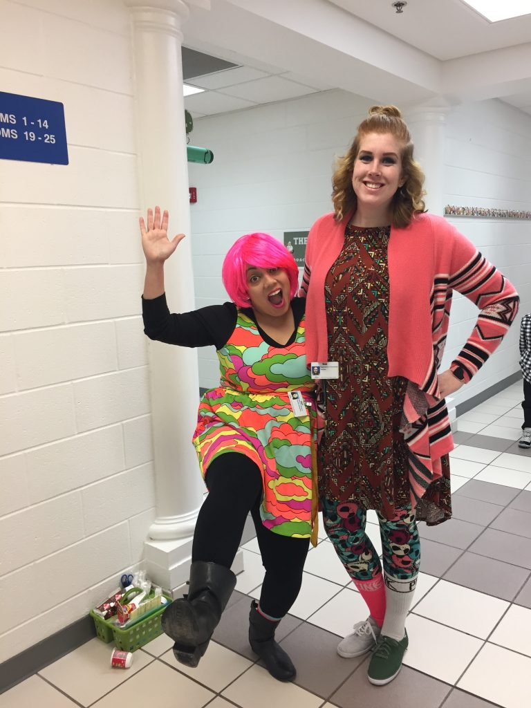 Stephanie Kemether and Janice Rivera celebrated Wacky Wednesday as part of Read Across America Week at Diamond Springs Elementary School.