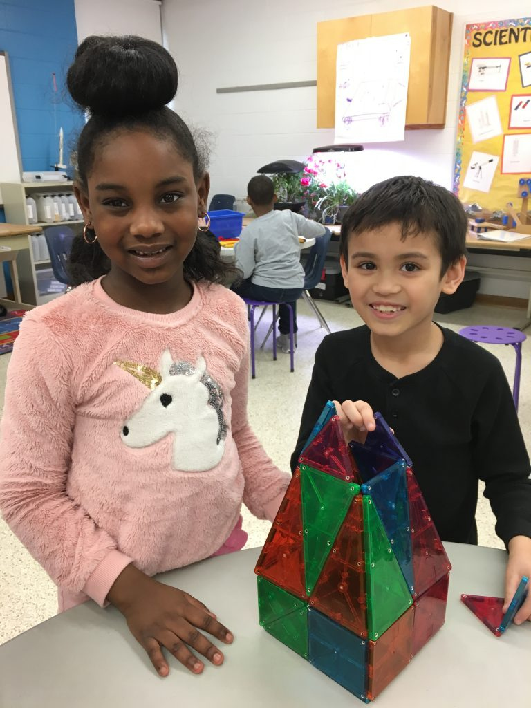 Green Run Elementary second-graders Raelynn Cole and Zachry Shivar showed off a model that they created in Maker Space in the school's science lab.
