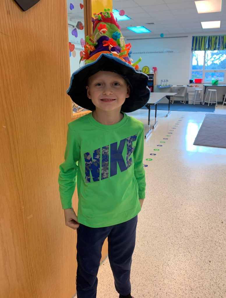 Liam Robertson wore a Seussical hat in honor of Reading Month at Hermitage Elementary School.