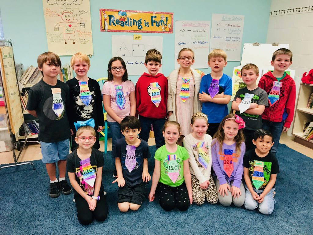 Kempsville Elementary School third-graders first graders celebrated the 120th day of school by creating 120th day ties and making trail mix using 12 kinds of snacks in groups of 10.