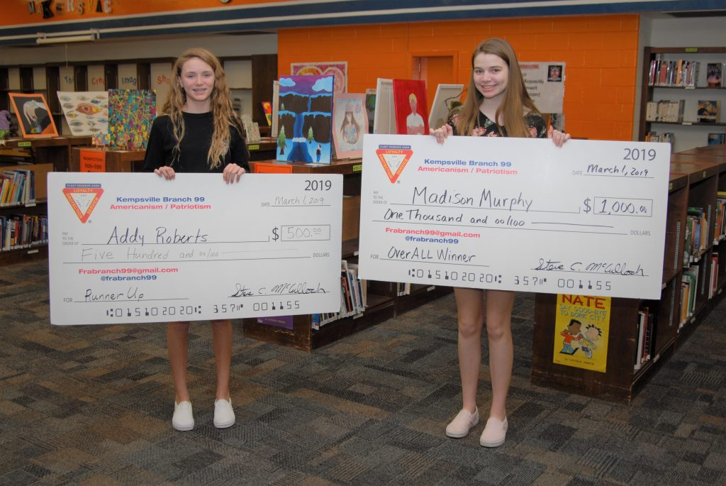 "Lynnhaven Middle students, Addy Roberts and Madison Murphey, won runner up and first place, respectfully, for the essay contest ""What Freedom Means to Me."""
