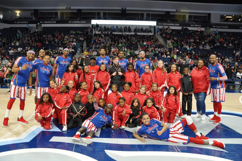 Parkway Elementary School's Step Team performed at the half time show for a Harlem Globetrotters Basketball Game.