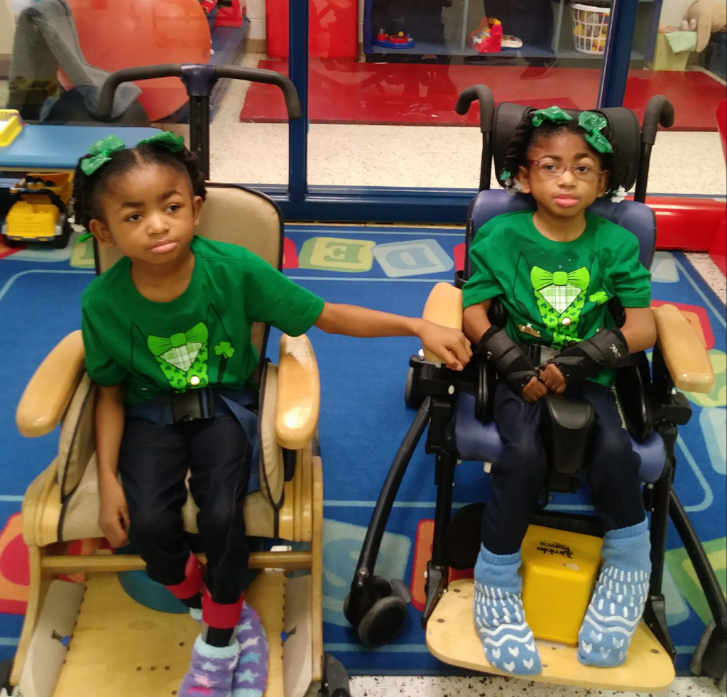 Pembroke Elementary students Mia and Mya Hughes dressed for St.Patrick's Day.
