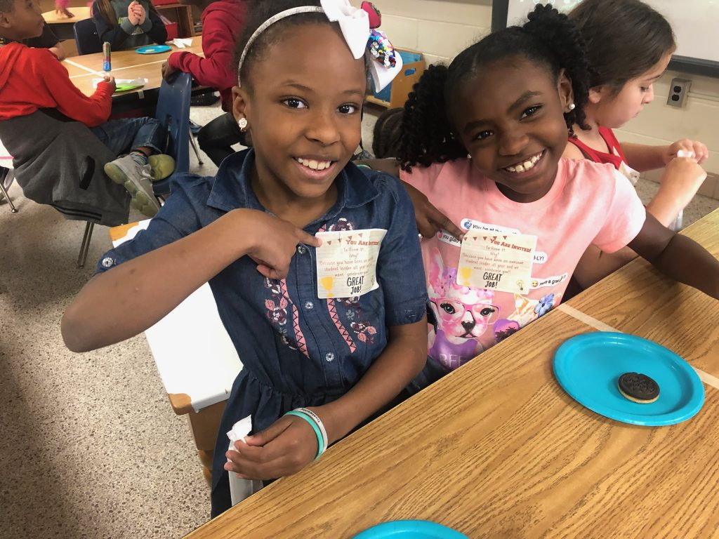 Third graders Laylah Augustin and Aubrey Joseph at Point O'View Elementary School celebrate their recognition as student leaders.
