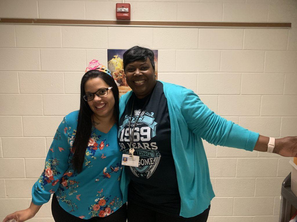 Miriam Bogdanova and Melanie Lucy, both teacher assistants at Providence Elementary, were birthday twins March 6.
