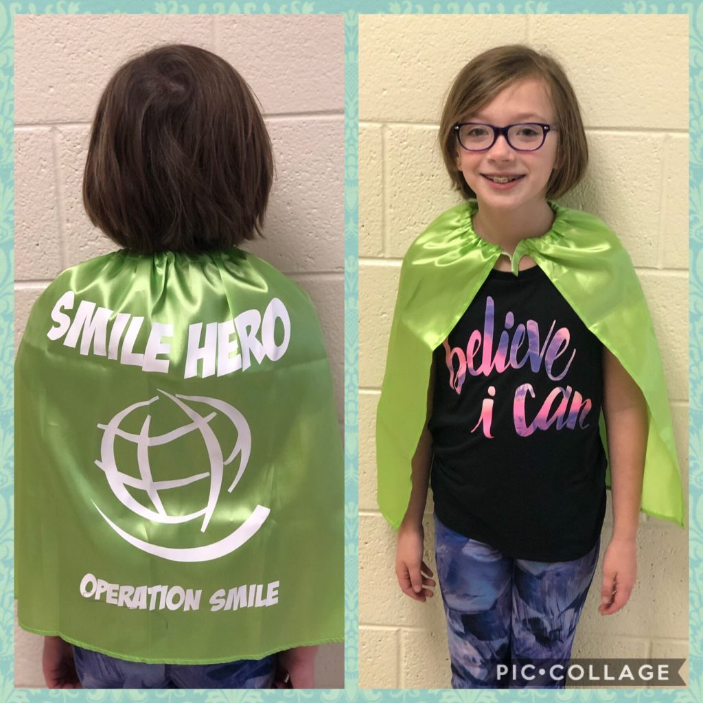 Red Mill Elementary School third-grader Hayden Dixon was given the Smile Hero award by Operation Smile. She was also given a special Smile Hero cape to wear at the Operation Smile Final Mile Run.