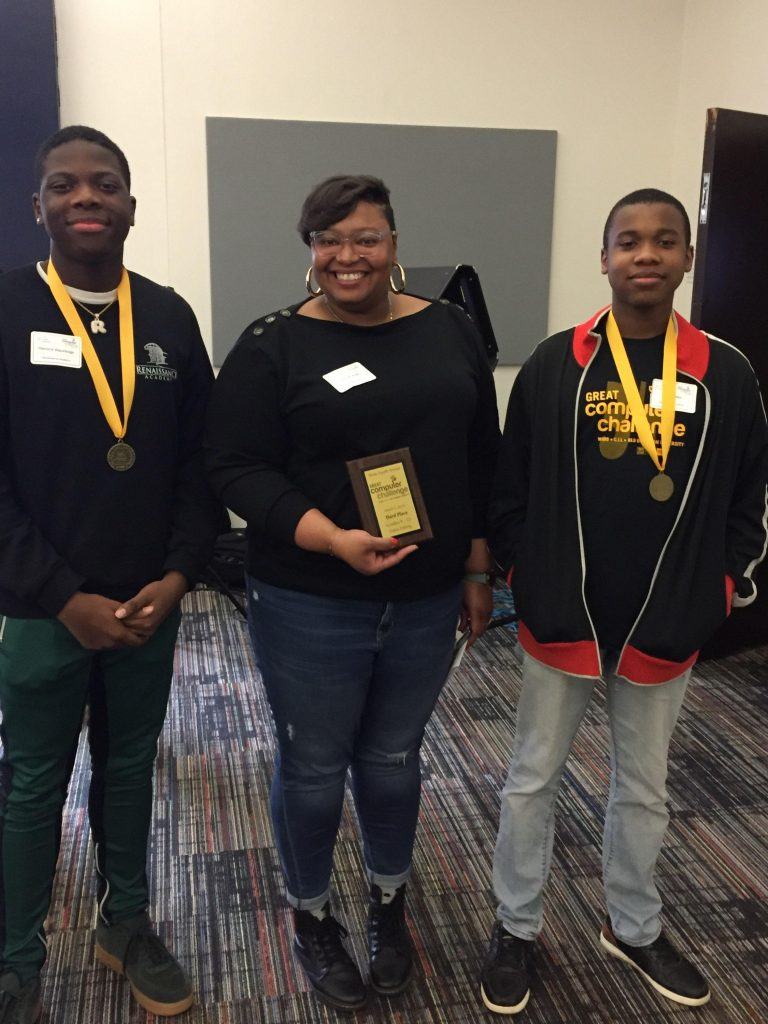 Renaissance Academy students from the Television Production class placed 3rd (out of 5 teams) in Video Editing at the 34th Annual Great Computer Challenge.