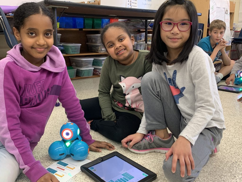 Rosemont Elementary School second-graders used DASH robots to learn about coding.