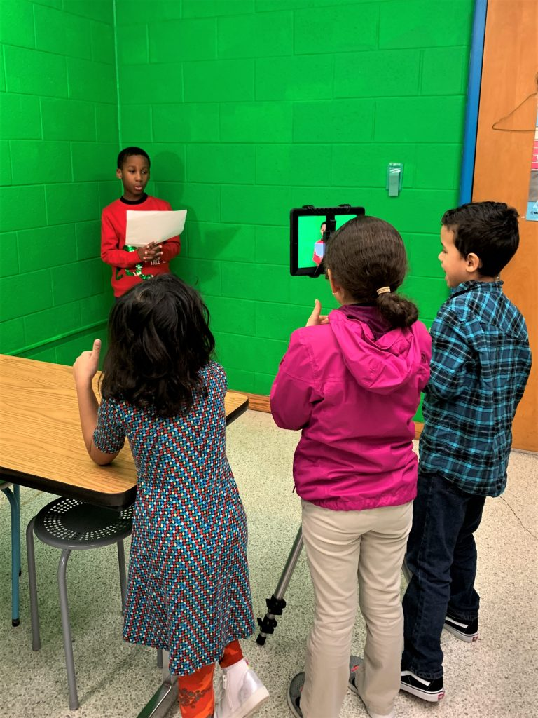 Rosemont Elementary School students used the Green Screen app on their iPads to create a video about famous African-Americans they had researched.