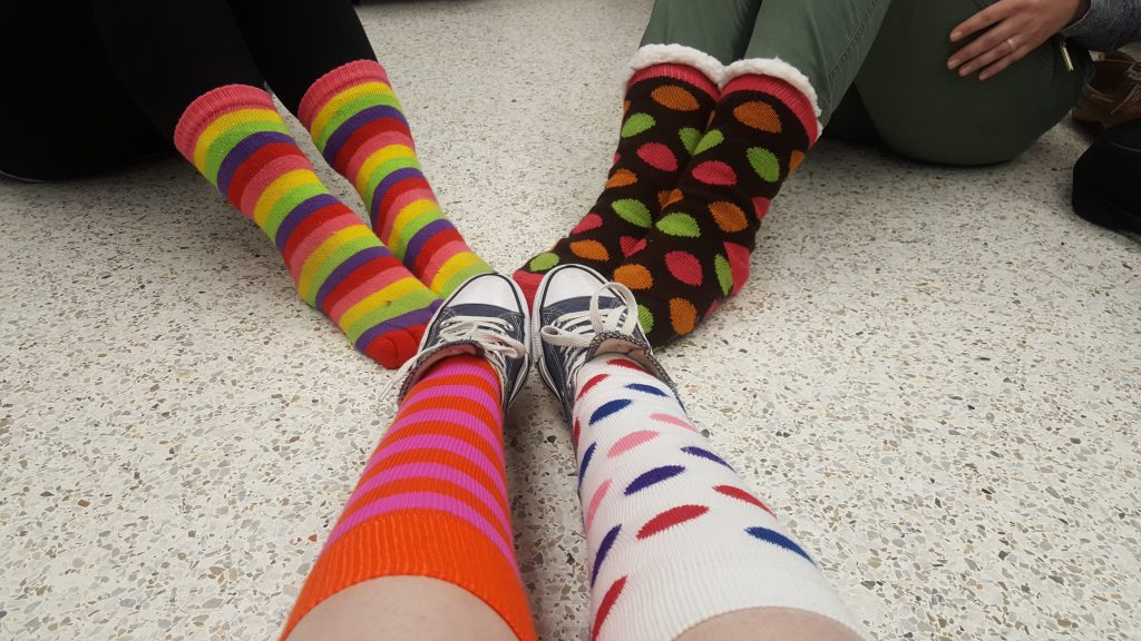 Many itinerant therapists from the Special Education Annex donned their odd socks in observance of World Down Syndrome Day. Socks were chosen as a symbol because just like socks, chromosomes come in pairs.