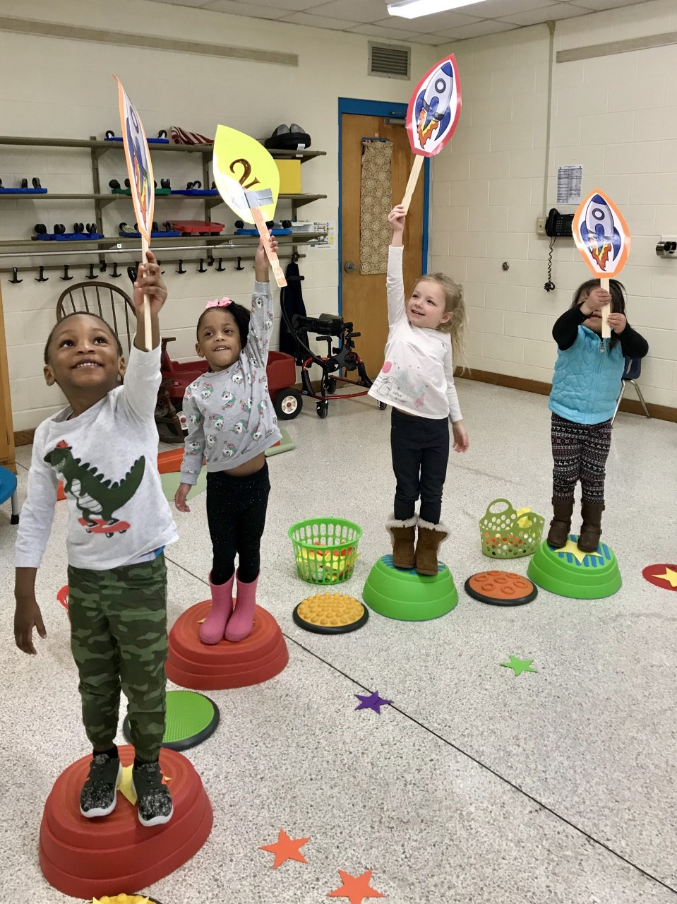 Rosemont Elementary School students Jeffrey Milan, Journey Cole, Emerson Aasen and Allison Sam sent their rockets to the sky.