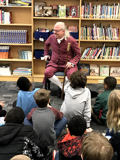 Benjamin Franklin visited with third-grades at Woodstock Elementary School.