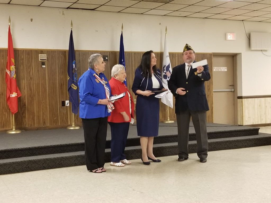 "Janice Ricci received the ""Teacher of the Year"" award for Virginia from the Veterans of Foreign Wars."