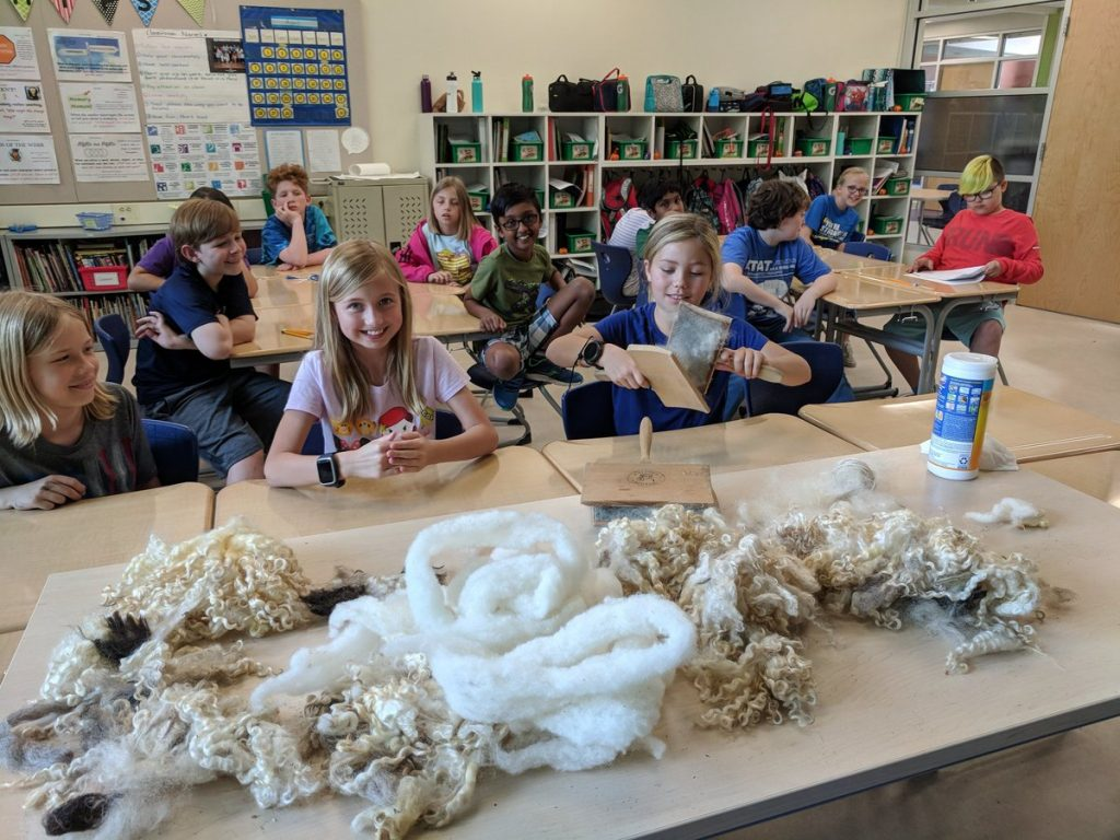 Fourth Graders at Old Donation School had a hands-on experience learning about Colonial Virginia by seeing what extent the settlers went to when eating, farming, making clothes, and other jobs.
